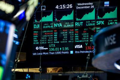 Индекс Dow Jones после закрытия торгов на Нью-Йоркской фондовой бирже (NYSE)