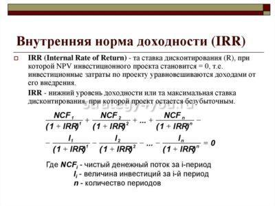 IRR инвестиционного проекта
