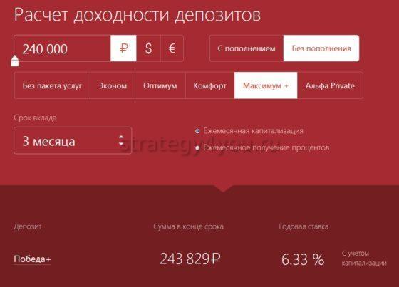 калькулятор подсчета доходности вклада альфа банка