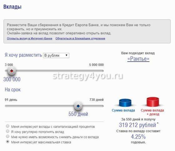 Вклады в Кредит Европа Банке калькулятор